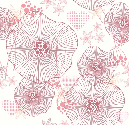 Cute pink seamless pattern with flowers and hearts Illustration