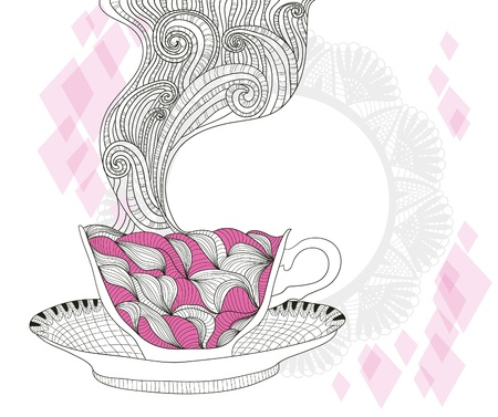 kitchen illustration: coffee and tea mug with abstract doodle pattern. Cup background. Hot drink in the beautiful mug.