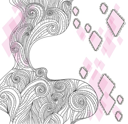 hand drawn frame: Abstract hand-drawn doodle background Illustration