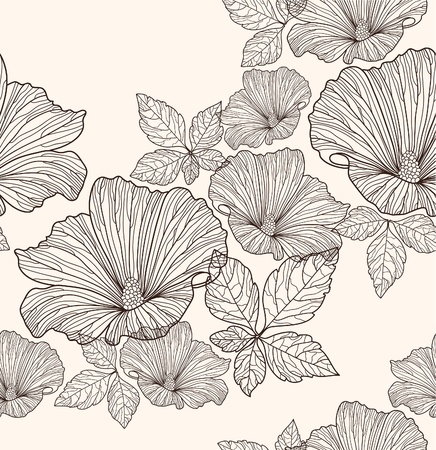 leafs: Motivo floreale senza soluzione di continuit�. Sfondo con fiori e foglie.