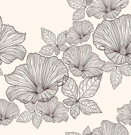 Naadloze bloemmotief. Achtergrond met bloemen en bladeren.