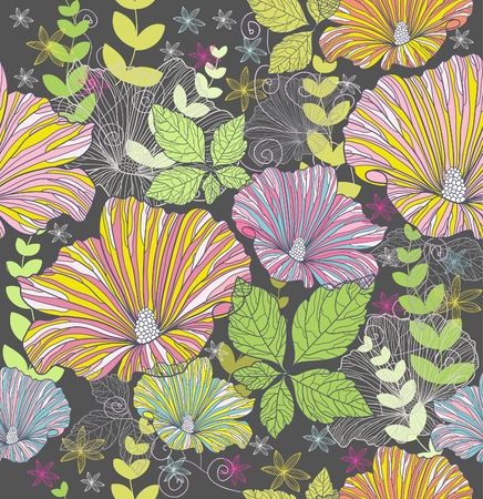 Seamless colorful floral pattern. Background with flowers and leafs.