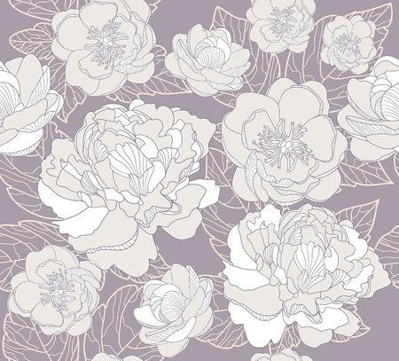 Seamless floral pattern. Background with peonies and cherry blossom flowers. Vector