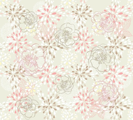 paeony: Seamless cute floral pattern. Background with spring or summer flowers.