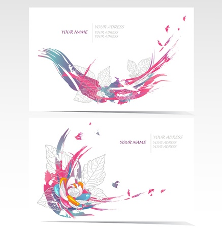 Vector business card set with floral elements. Backgrounds with flowers and leafs. Illustration