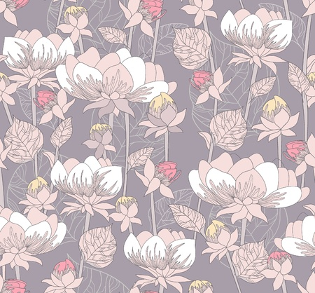 Seamless pastel floral pattern. Background with flowers Illustration