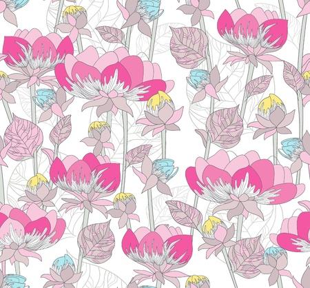 Nahtlose rosa Muster mit Blumen. Floral background.