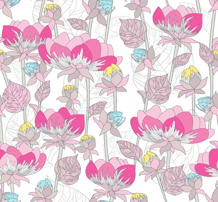 Seamless pink pattern with flowers. Floral background . Stock Vector - 10772552