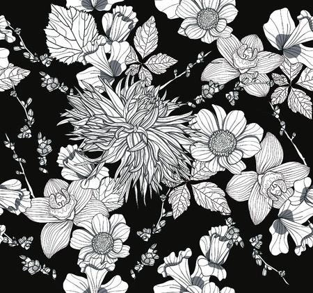 dalia: Patr�n sin fisuras con las flores. Fondo floral. Vectores