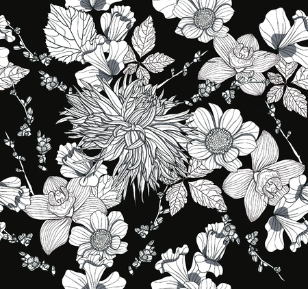 dahlia flower: Seamless pattern with flowers. Floral background.