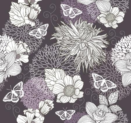 달리아: 꽃과 나비와 원활한 패턴입니다. 꽃 배경입니다. 일러스트