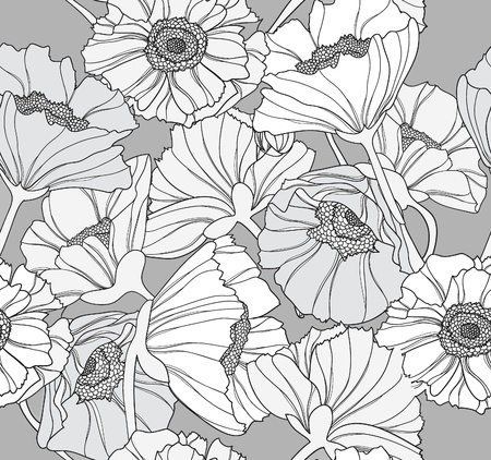 Seamless floral pattern. Background with poppy flowers. Vector