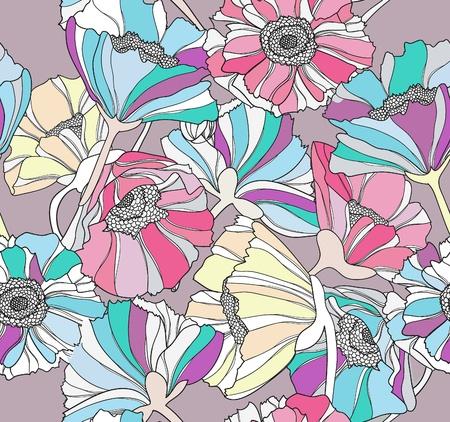 dalia: Patr�n transparente con flores. Fondo floral multicolor. Vectores