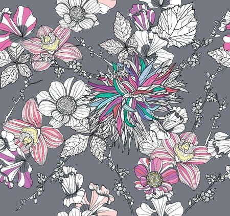 달리아: 꽃과 원활한 패턴입니다. 꽃 배경입니다.