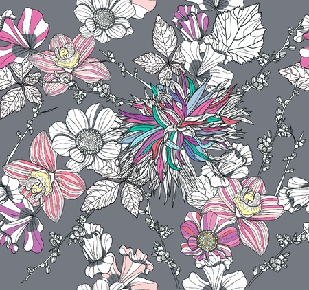 pink orchid: Seamless pattern with flowers. Floral background.
