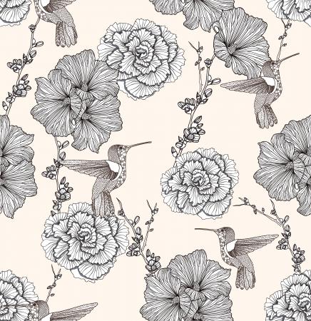 pajaro  dibujo: Patrón transparente con flores y pájaros. Fondo floral. Vectores