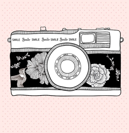 photograph: Background with retro camera. Vector illustration. Photo camera with flowers and birds. Camera with floral pattern.
