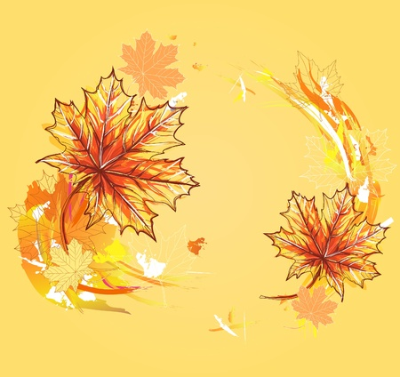 Background with maple leafs. Autumn leafs background. Vector