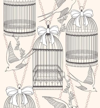 swallow: Naadloos patroon met vogelkooien, bloemen en vogels. Bloemen en slikken achtergrond.