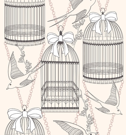 birdcage: Seamless pattern with birdcages, flowers and birds. Floral and swallow background.