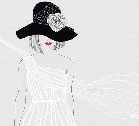 Elegant background with women in beautiful white dress. Female with hat and flower on it. Fashion illustration. Vector