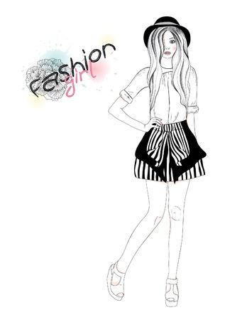 Jong mooi meisje, mode, illustratie. Vector illustratie. Achtergrond met tiener vrouw in modieuze kleding.