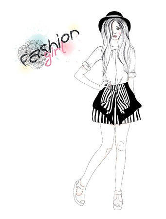 Young beautiful girl fashion illustration. Vector illustration. Background with teen female in fashionable clothes.