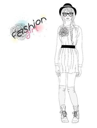 fashion bril: Jong mooi meisje, mode, illustratie. Vector illustratie. Achtergrond met tiener vrouw in modieuze kleding.