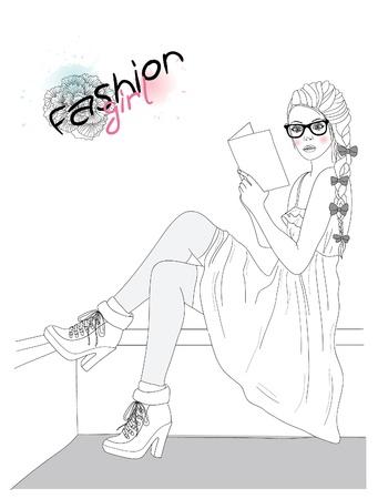 reading glass: Joven hermosa ni�a ilustraci�n de moda.