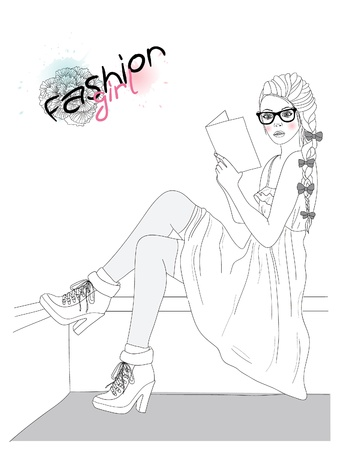 Young beautiful girl fashion illustration. Vector