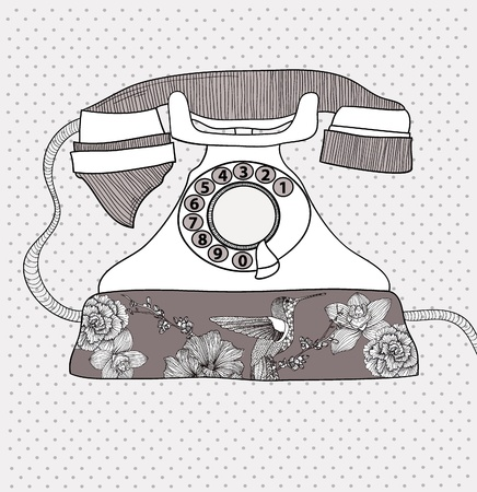 Background with retro telephone. vintage illustration. Telephone with flowers and birds. Phone with floral pattern. Illustration