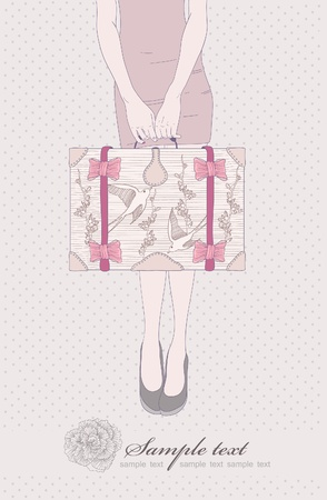 Fashion illustration. Women with vintage suitcase. Retro bag with birds and flowers ornament. Background with girl ready to travel. Invitation or birthday card. Illustration
