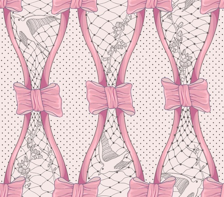 swallows: Seamless pattern with flowers, birds and bows. Polka dot background. Elegant floral fashion pattern.