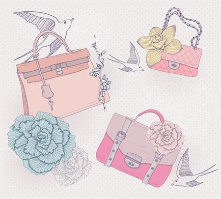 De ilustración de moda. De fondo con bolsas de moda, flores y pájaros. Invitación o tarjeta de cumpleaños.