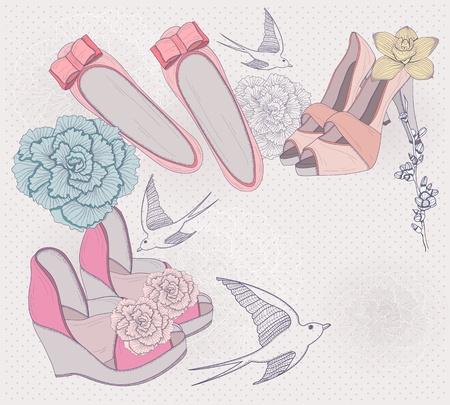 De ilustraci�n de moda. De fondo con zapatos de moda, flores y p�jaros. Invitaci�n o tarjeta de cumplea�os.