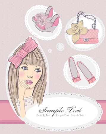 Fashion girl dreaming about bags and shoes. Vector illustration. Background with fashion elements. Young beautiful cartoon girl.