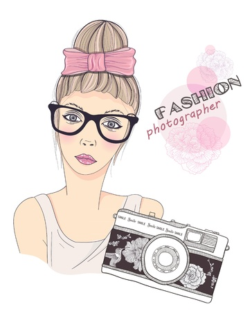 Fashion girl photographer vector background. Young female with retro camera. Vintage photo camera with flowers and birds pattern. Fashion illustration. Vector