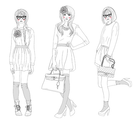 fashion sketch: Young beautiful girls fashion illustration. Vector illustration. Background with teen females in fashionable clothes posing. Fashion illustration. Illustration