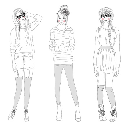 Young beautiful girls fashion illustration. Vector illustration. Background with teen females in fashionable clothes posing. Fashion illustration. Vector