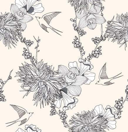 달리아: 꽃과 새와 원활한 꽃 패턴 원활한 패턴입니다. 제비와 우아하고 낭만적 인 배경.