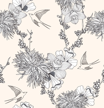 dahlia flower: Seamless floral pattern Seamless pattern with flowers and birds. Elegant and romantic background with swallows.