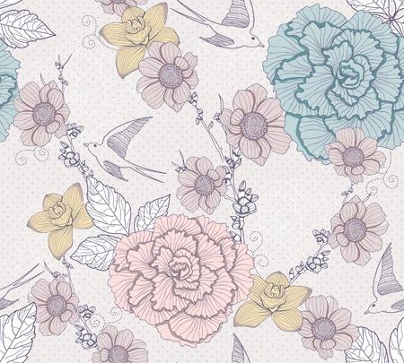 dalia: Patrón floral sin fisuras. Patrón sin fisuras con flores y pájaros. Fondo elegante y romántica de golondrinas.