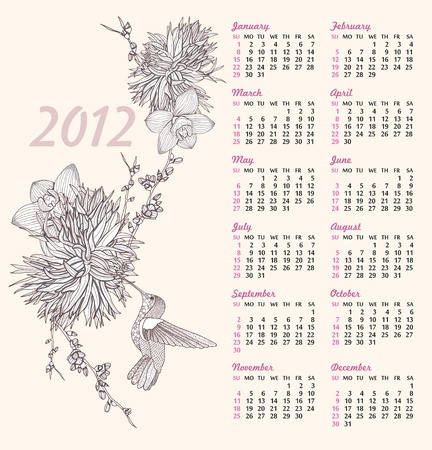 2012 calendar with floral pattern. Background with flowers and birds. Elegant and romantic background with hummingbird. Vector