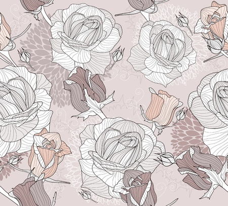 Floral pattern. Seamless pattern with flowers and birds. Floral background. Elegant and romantic pattern with roses.