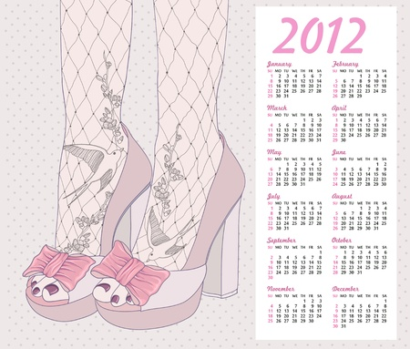 2012 fashion calendar. Background with high heels shoes. Tights with birds and flowers ornament lace. Vector