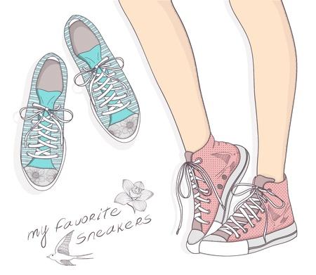 Schoenen met bloemmotief. Achtergrond met modieuze sneakers. Leuke verjaardagskaart of uitnodiging. Vector Illustratie