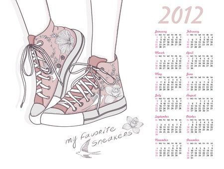 2012 calendar with shoes. Shoes with floral pattern. Background with fashionable sneakers. Vector