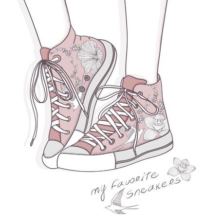 Schoenen met bloemmotief. Achtergrond met modieuze sneakers. Leuke verjaardagskaart of uitnodiging.