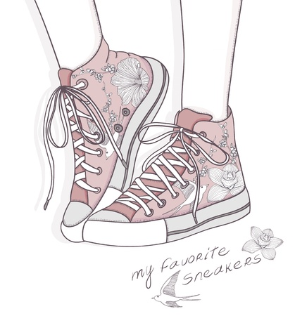 girls feet: Shoes with floral pattern. Background with fashionable sneakers. Cute birthday card or invitation.