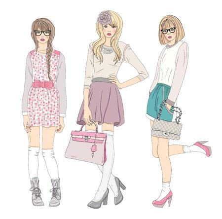 fashion bril: Jonge mode meisjes illustratie. Vector illustratie. Achtergrond met tiener vrouwen in modieuze kleding poseren. Mode-illustratie.